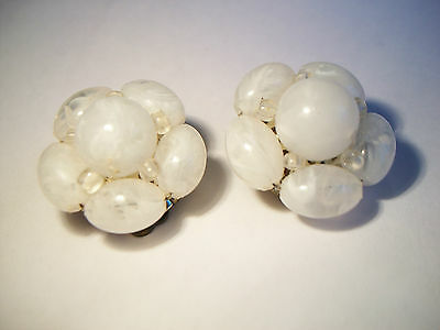 Pair of Vintage Plastic Clip-on Earrings - West Germany - Circa 1960's