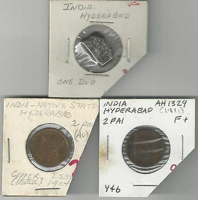 xx From Accumulation - 3 OLD COINS from INDIA's HYDERABAD STATE