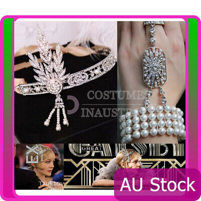 20s Headband Bracelet Ring Set 1920s Vintage Bridal Gatsby Costume Accessory