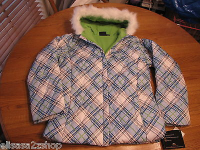 Girls Pacific Trail puffy jacket  L 14 blue green gray plaid 2F11603 NWT 80.00^^