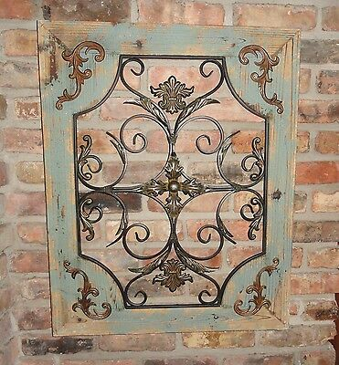 Rustic Turquoise Wood & Metal Wall Decor Cottage Chic Shabby Home Decor French