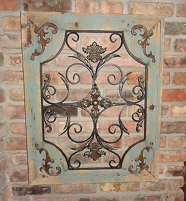 Rustic Wood Frame Ornate Window Metal Wall Decor Cottage Chic Shabby Home Decor