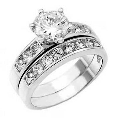 925 Sterling Silver 14k White Gold Round cut Engagement Ring Wedding Band Set