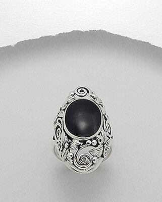 Size 9 Black Filigree Ornate Solid Sterling Silver Ladies/Women Dress Ring Band