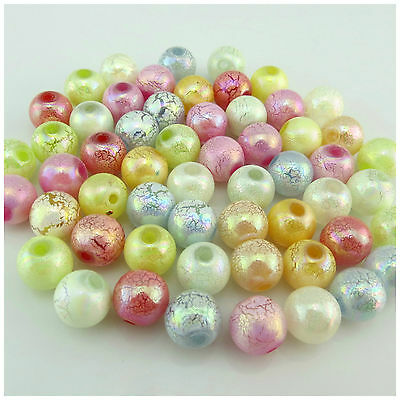 New Arrival 8Mm 10Mm Ab Colorful Crack Acrylic Round Beads - Hole Size:2Mm