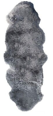New Genuine Extra Large Double Grey Natural Sheepskin Fur Rug 175x70 cm