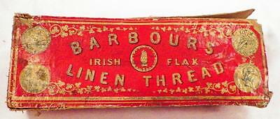 Antique Thread Box Barbour's Linen Irish Flax Store Advertising 1866 Patent AsIs