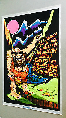 Vintage Black Light Poster Flocked Velvet Valley Meanest SOB Monster Funky 70's