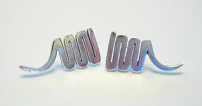 Vintage Sterling Silver Squiggle Earrings - Signed - Mexico - Late 20th Century