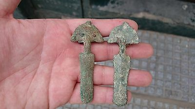 AWESOME PAIR BUCKLE PIN LAYER VISIGOTHIC DECORATED 77-76 Milim / 16,1-25,3 Gram