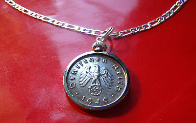 """1940 - 1944  German Third Reich Coin Pendant on a 30"""" 925 Sterling Silver Chain"""