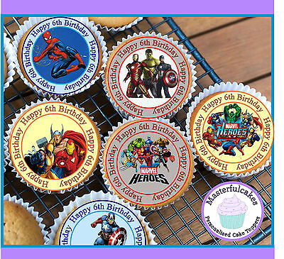 24 X Marvel Hero 6Th Birthday Edible Cupcake Toppers Wafer Paper,icing Or Precut