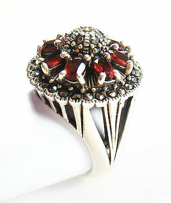 Vintage Silver Cocktail Ring with Garnets & Marcasites - Unsigned - C. 1980's