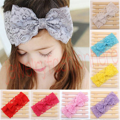 10 Colour Kids Girl Baby Headband Toddler Lace Bow Flower Hair Band Accessories