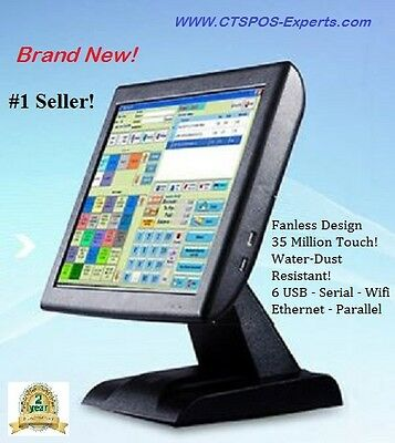 "New! FAST POS! Restaurant Retail POS All in One Touch Screen System 15"" Fanless!"