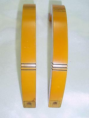 Vtg Two Art Deco Handles Drawer Pulls Carved Butterscotch Bakelite  Amber  $1576