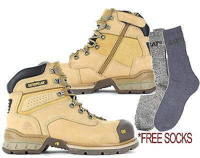 CAT Caterpillar Brakeman Steel Toe Work Safety Boots with Side Zip Tradies Shoes