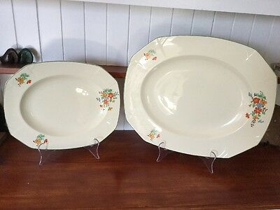 2 X Graduated vintage art deco alfred meakin marigold princess shape Platters