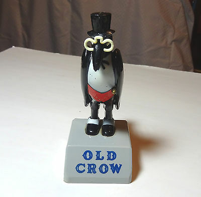 Vintage Old Crow Whiskey 5.5 inch Statue Glasses & Cane intact Plastic GREAT!
