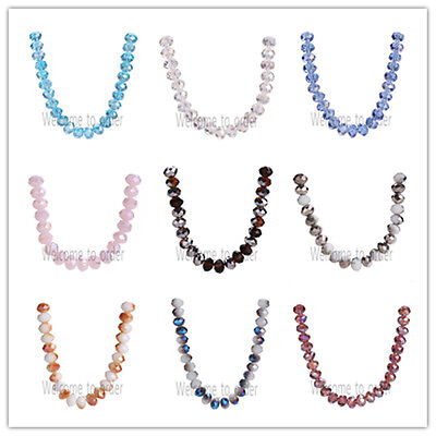 8mm Faceted Glass Crystal Rondelle Loose Spacer Beads Jewelry Findings 69 Colors