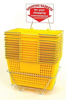AYS 12 Retail Shopping Basket Set Jumbo-Size Heavy-Duty w/ Stand & Sign (Yellow)