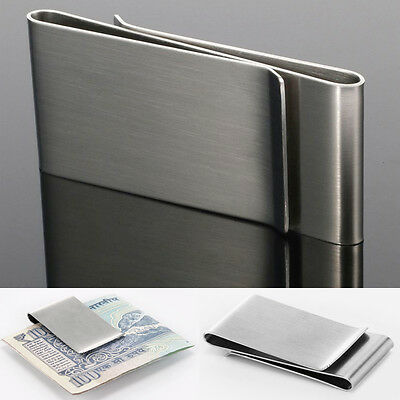 Mens Portable Money Clips Silver Wallet Credit ID Card Holder Stainless Steel