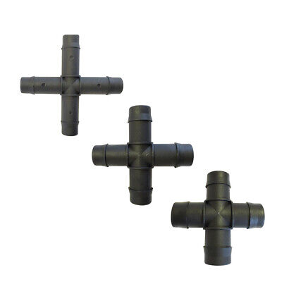 PVC Hose Pipe Cross Barbed 4-Way - Available in (13MM / 19MM / 25MM)