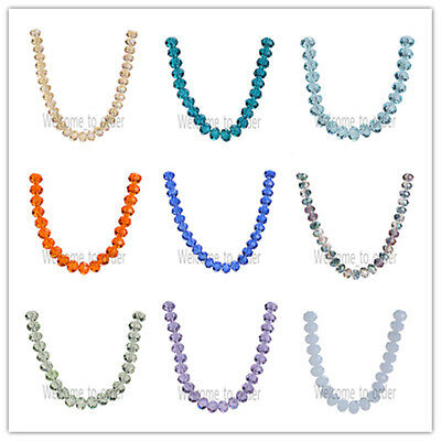 8x6mm Rondelle Faceted Crystal Glass Bead Loose Spacer Beads Free Shipping