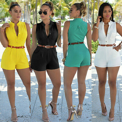 Women Sleeveless Jumpsuit Romper Trousers Bodycon Clubwear Party Playsuit Shorts