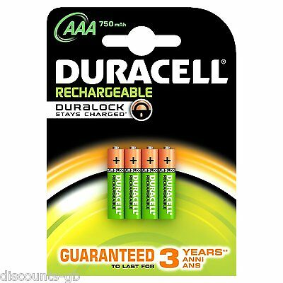 Duracell AAA Rechargeable 750 mAh HR03 Stay Charged Batteries - Pack of 4