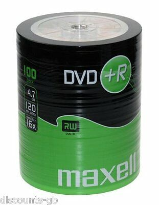 100 Maxell DVD+R Recordable DVDs R BULK SHRINK WRAPPED Pack Spindle Blank Discs