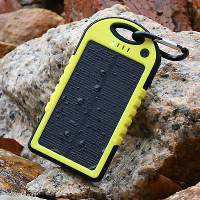 SOLAR CHARGER USB 5000 mAh waterproof yellow for camping téléphone NEW