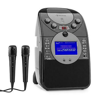 AUNA SCREENSTAR BLACK KARAOKE SYSTEM w. VIDEO CAMERA CD USB SD MP4 INCL. 2 X MIC