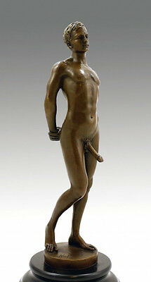 Erotic bronze figure NUDE MALE WITH LARGE PHALLUS sign. M. NICK