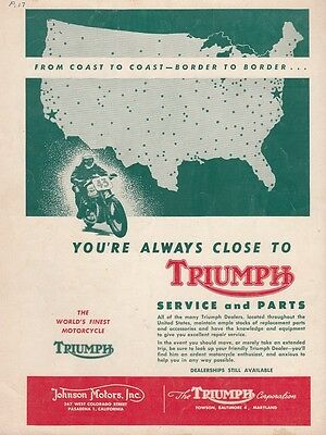 1952 Triumph Motorcycle Ad: You're Always Close to Triumph Service and Parts