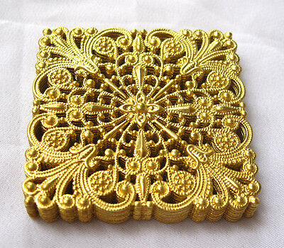 Square Brass Stampings Filigree Findings for Jewelry Fashion Design bf112(6pcs)
