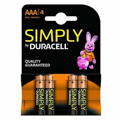4 x Duracell  AAA Alkaline 3 1.5V Batteries LR03 / MN2400 Long Lasting Simply