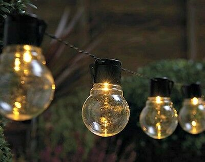 10 Multi Function Clear Bulb Solar Powered LED String Lights Brand New