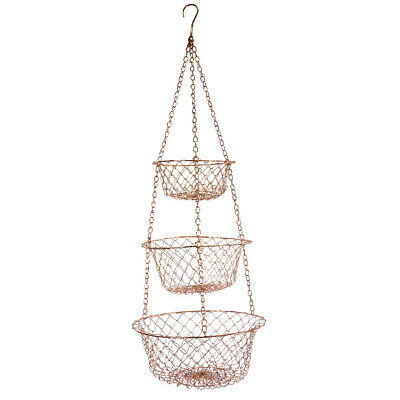Fox Run Copper 3 Tier Hanging Food Kitchen Bathroom Tool Laundry Storage Baskets