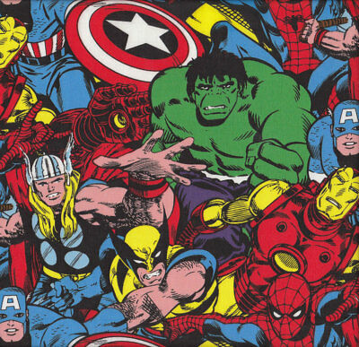 Marvel Avengers Spiderman Hulk Thor Captain America Licensed Boys Fabric FQ *New