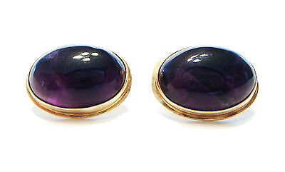 Vintage Cabochon Violet Amethyst & 14K Yellow Gold Cufflinks - Late 20th Century