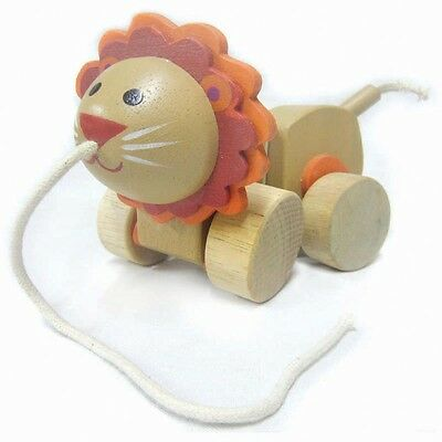 Brand new wooden pull / walk along toy animal - Lion