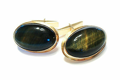 Vintage Cabochon Moss Agate & 14K Yellow Gold Cufflinks - Late 20th Century