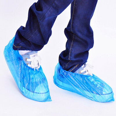 100 Disposable Plastic Blue Anti Slip Shoe Cover Cleaning Overshoes Protective