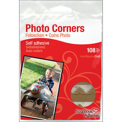 """Scrapbook Adhesives Paper Photo Corners Self-Adhesive 108/Pk-Kraft, Set Of 4"""
