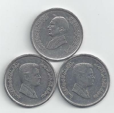 3 DIFFERENT 10 PIASTRE COINS from JORDAN (1993, 2006 & 2009)