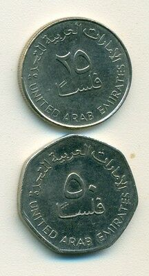 2 DIFFERENT COINS from the UNITED ARAB EMIRATES - 25 & 50 FILS (BOTH 2007)