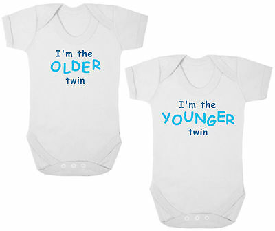 I/'M THE SHY//NOISY TWIN Funny Bodysuits//Grows//Vests Baby Shower Newborn Gift