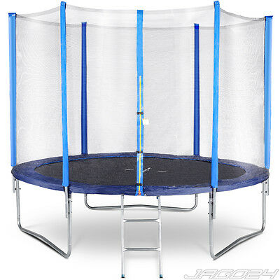 10ft Trampoline with Ladder Safety Net Enclosure Padding Rain Cover Kids Adults