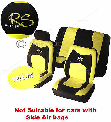 Universal 6 Piece Yellow & Black RS Car Seat Headrest Covers Cover Protector Set